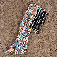 Wood comb, 'Colorful Vine' - Colorful Floral Copal Wood Comb from Mexico
