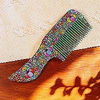 Wood comb, 'Petal Vine' - Handcrafted Floral Wood Comb from Mexico