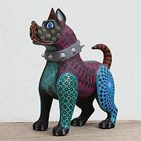 Wood alebrije sculpture, 'Awesome Canine' - Handcrafted Wood Alebrije Canine Sculpture from Mexico