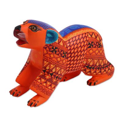 Wood Alebrije Bear Figurine in Orange from Mexico
