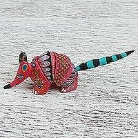 Wood alebrije figurine, 'Floral Armadillo' - Wood Alebrije Armadillo Figurine in Pink from Mexico