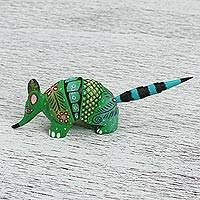Wood alebrije figurine, 'Forest Armadillo' - Wood Alebrije Armadillo Figurine in Green from Mexico