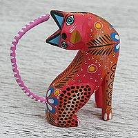 Wood alebrije figurine, 'Festive Cat' - Wood Alebrije Cat Figurine in Pink from Mexico