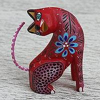 Wood alebrije figurine, 'Passionate Cat' - Wood Alebrije Cat Figurine in Red from Mexico