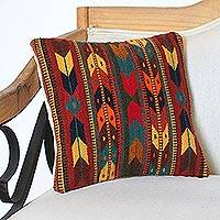 Zapotec wool cushion cover, 'Earth Chevrons' - Wool Cushion Cover with Earth-Tone Chevron Motifs