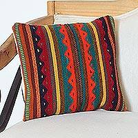 Wool cushion cover, 'Desert Mountains' - Wool Cushion Cover with Zigzag Motifs from Mexico