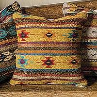 Wool cushion cover, 'Diamond Desert' - Wool Cushion Cover with Stripes and Diamond Motifs
