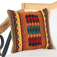 Wool cushion cover, 'Desert Design' - Wool cushion Cover with Diamond Motifs from Mexico