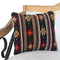 Wool cushion cover, 'Dark Diamond' - Handwoven Wool Cushion Cover with Geometric Motifs