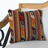 Zapotec wool cushion cover, 'Desert Grecas' - Wool Cushion Cover with Grecas Motifs from Mexico