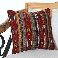Wool cushion cover, 'Desert Butterflies' - Handwoven Wool Cushion Cover with Red Stripes from Mexico