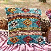 Wool cushion cover, 'Teal Desert' - Handwoven Wool Cushion Cover with Blue Stripes from Mexico