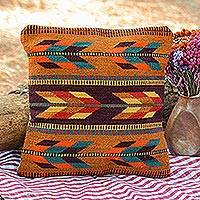 Wool cushion cover, 'Desert Chevrons' - Handwoven Wool Cushion Cover with Chevron Motifs from Mexico