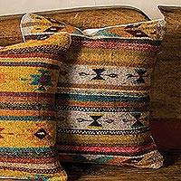 Wool cushion cover, 'Butterfly Style' - Handwoven Geometric Wool Cushion Cover from Mexico