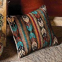 Wool cushion cover, 'Colorful Chevrons' - Wool Cushion Cover with Colorful Chevron Motifs from Mexico