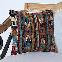 Zapotec wool cushion cover, 'Earthen Colors' - Handwoven Wool Cushion Cover Crafted in Mexico