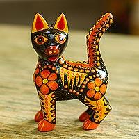 Wood alebrije figurine, 'Fiery Cat' - Wood Alebrije Cat Figurine in Orange from Mexico
