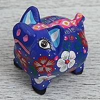 Wood alebrije figurine, 'Blue Piglet' - Wood Alebrije Piglet Figurine in Blue from Mexico