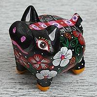 Wood alebrije figurine, 'Black Piglet' - Wood Alebrije Piglet Figurine in Black from Mexico