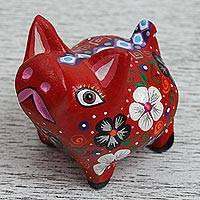 Wood alebrije figurine, 'Red Piglet' - Wood Alebrije Piglet Figurine in Red from Mexico