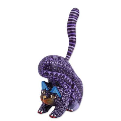 Wood alebrije figurine, 'Fantastic Stretch' - Wood Alebrije Cat Figurine in Purple from Mexico