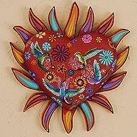 Wood wall sculpture, 'Flaming Hummingbird Heart' - Heart-Shaped Hummingbird Motif Wood Wall Art from Mexico