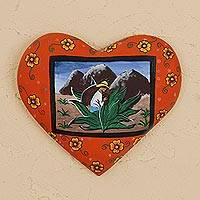 Wood wall sculpture, 'Agave Harvest' - Hand-Painted Heart-Shaped Wood Wall Sculpture from Mexico