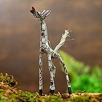 Wood alebrije figurine, 'Pearly Giraffe' - Wood Alebrije Giraffe Figurine in Grey from Mexico