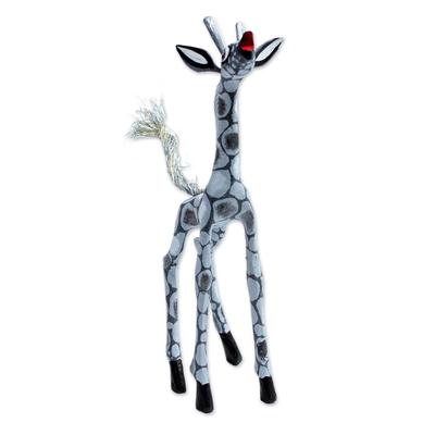 Wood alebrije figurine, 'Pearly Giraffe' - Wood Alebrije Giraffe Figurine in Grey from Mexico