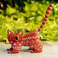 Wood alebrije figurine, 'Walking Cat'