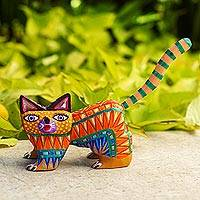 Wood alebrije figurine, 'Walking Festive Cat' - Multicolored Wood Alebrije Cat Figurine from Mexico