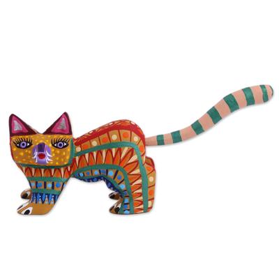 Wood alebrije figurine, 'Walking Festive Cat' - Multicolored Wood Alebrije Cat Figurine from Mexico