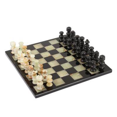 Onyx and marble chess set, 'Verdant Challenge' - Onyx and Marble Chess Set in Black and Green from Mexico