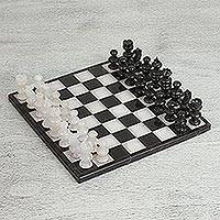 Onyx and marble chess set, 'Black and Ivory Challenge' (10 inch) - Onyx and Marble Chess Set in Black and Ivory (10 Inch)
