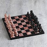 Marble chess set, 'Black and Pink Challenge' (10.5 inch) - Marble Chess Set in Black and Pink from Mexico (10.5 in.)