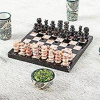 Small marble chess set, 'Black and Pink Challenge' (7.5 in.) - Marble Chess Set in Black and Pink from Mexico (7.5 in.)