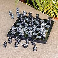 Marble chess set, 'Black and Grey Challenge' (7.5 in.) - Marble Chess Set in Black and Grey from Mexico (7.5 in.)