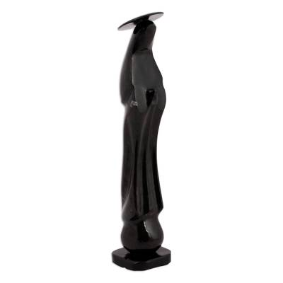 Marble statuette, 'Holy Madonna in Black' - Marble Madonna Statuette in Black from Mexico