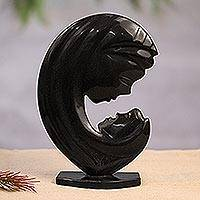 Marble sculpture, 'Madonna Profile' - Black Marble Sculpture of Madonna's Profile from Mexico