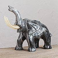 Marble sculpture, 'Earth Elephant' - Marble Elephant Sculpture in Grey from Mexico