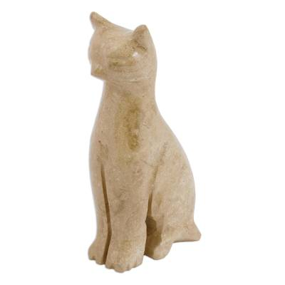 Marble sculpture, 'Cafe Cat' - Marble Cat Sculpture in Beige from Mexico
