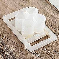 Onyx shot glasses, 'Ivory Party' (set of 4) - Ivory-Colored Onyx Shot Glasses from Mexico (Set of 4)