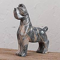 Marble sculpture, 'Grey Terrier' - Marble Dog Sculpture in Grey from Mexico