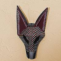 Wood mask, 'Checked Coyote' - Wood Coyote Mask with Square Motifs from Mexico
