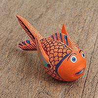 Wood alebrije figurine, 'Surprised Fish' - Wood Alebrije Figurine of an Orange Fish from Mexico