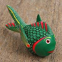 Wood alebrije figurine, 'Curious Fish' - Wood Alebrije Figurine of a Green Fish from Mexico