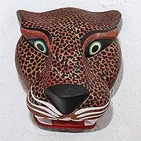 Wood mask, 'Brown Jaguar' - Hand-Painted Wood Jaguar Mask in Brown from Mexico