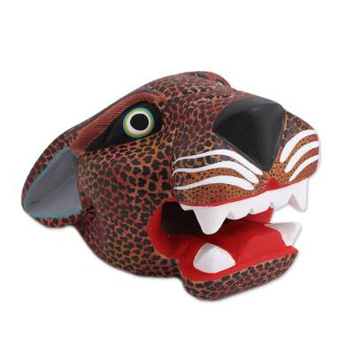 Hand-Painted Wood Jaguar Mask in Brown from Mexico