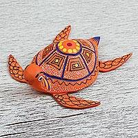 Wood alebrije figurine, 'Seafarer' - Handcrafted Orange Wood Alebrije Turtle Figurine from Mexico