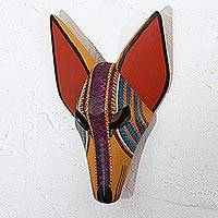 Wood mask, 'Striped Coyote' - Hand-Painted Striped Wood Coyote Mask from Mexico